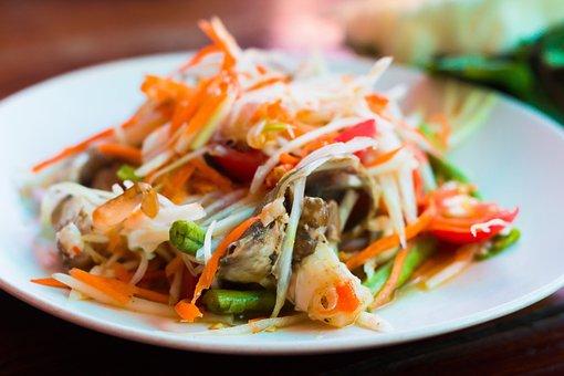 Food, Thai, Spicy, Asian, Papaya, Somtam, Crap, Tasty