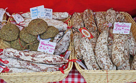 Salami, French, Market Stall, Flower Market, Nice