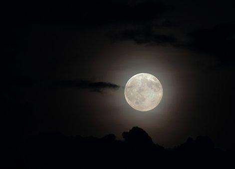 Moon, Full Moon, Cloud, At Night, Dark, Moonlight