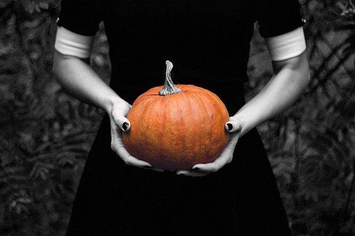 Pumpkin, Lady, Halloween, Black And White