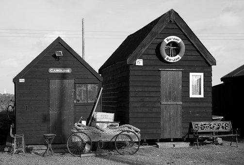 Huts, Cabins, Shacks, Wooden, Handcart, Life Ring