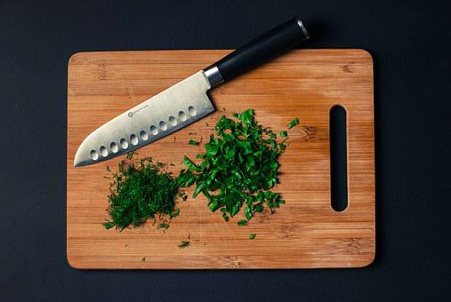 Cutting Board, Knife, Chopped, Parsley, Dill