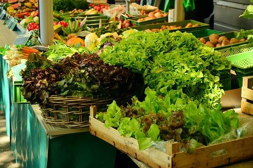 Salad, Market, Market Stall, Green Salad, Vegetables