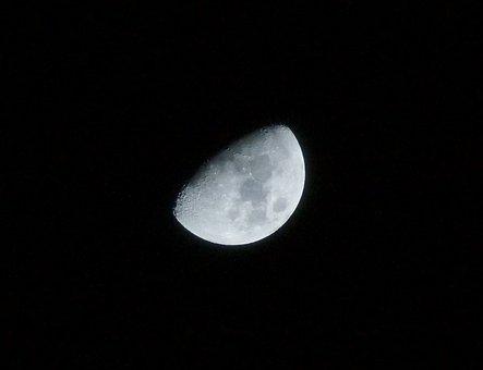 Moon, Night Photograph, Night, Moon At Night, Astronomy