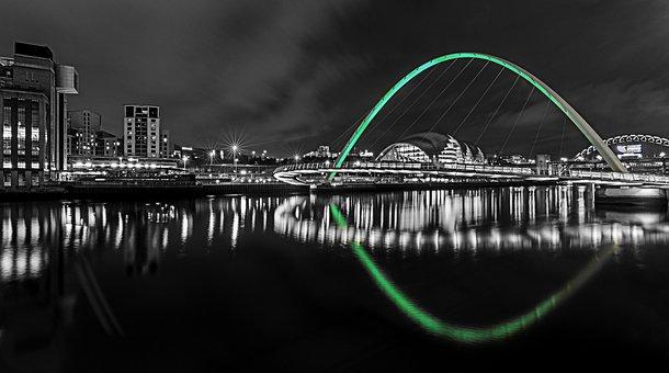 Newcastle, Upon Tyne, Night, Reflections, Bridge