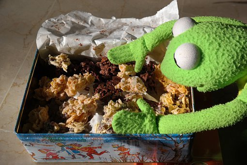 Frog, Kermit, Cookie, Nibble, Hunger, Eat, Small Cakes