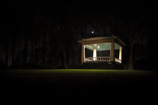 Lit, House, Music, Chapel, Hill, Night, Park Light