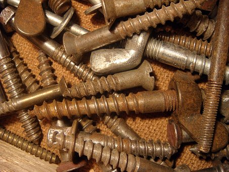 Old, Rusty, Screw, Large, Building, The Background