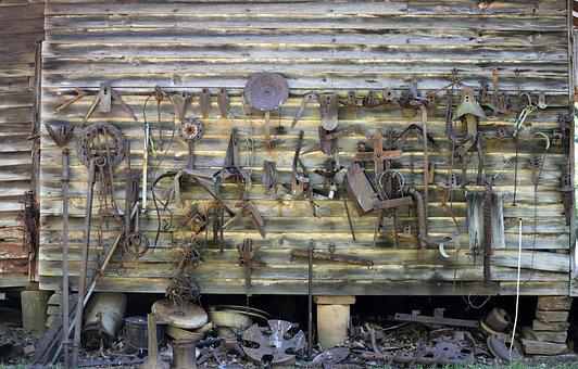 Old, Rusty, Rustic, Wall, Farm Tools, Rural, Background