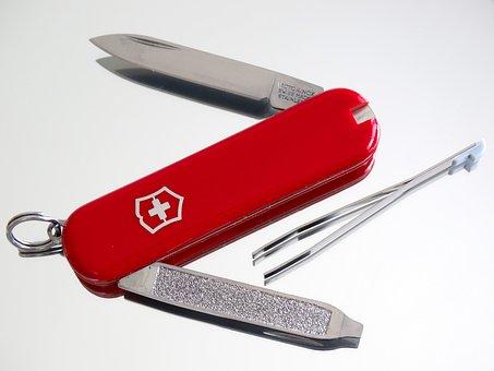 Sac Diameter, Knife, Tweezers, Swiss Cross, Red, Cut