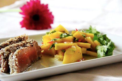 Tuna, Sesame Crust, Fish, Eat, Papaya, Salad