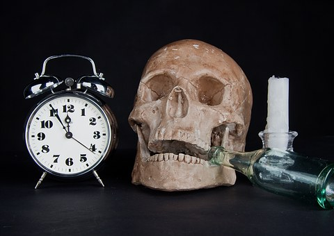 Clock, Alarm Clock, Time, Skull, Candle, A Bottle Of