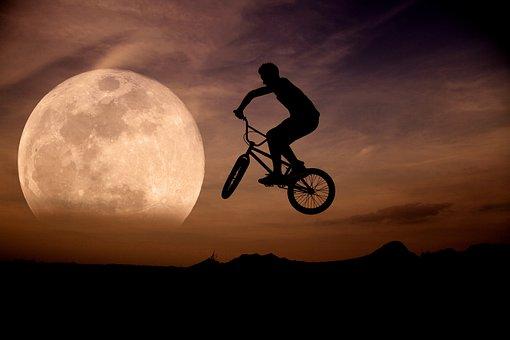 Moon, Sky, Moon At Night, Bmx-rad