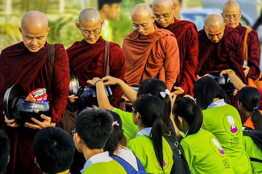 Sangha, Theravada Monks In Alms-round