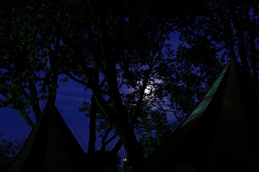 Medieval Market, Army Camp, Tents, Treetop, Moon
