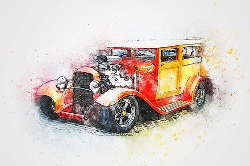 Car, Hot Rod, Vehicle, Art, Abstract, Watercolor