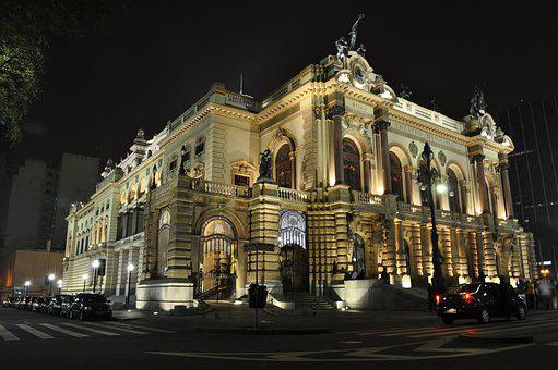 City, Building, São Paulo, Theatre, Nocturne, Luxury