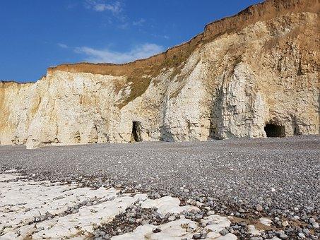 Chalk Rock Cliffs, Caves, Rocky Coast, Beach
