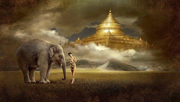 Fantasy, Temple, Mood, Mystical, Elephant, Ray Of Hope