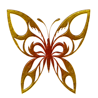 Butterfly, Abstract, Gold Embossed, Beautiful, Png File