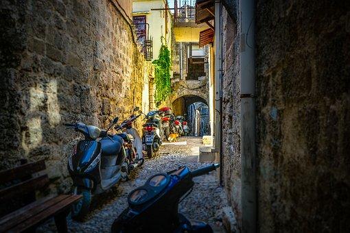 Alley, Rhodes, Greece, Greek, Ancient, Old