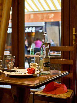 Cafe, France, Mineral Water, Table, Restaurant