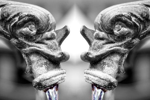 Fountain, Gargoyle, Water, Flow, Old, Figure