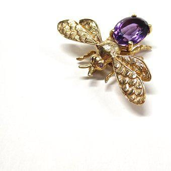 Insect, Fly, Bee, Nature, Bug, Gold, Amethyst, Pin