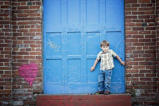 Bricks, Blue, Door, Child, Kid, Building, Brickwall