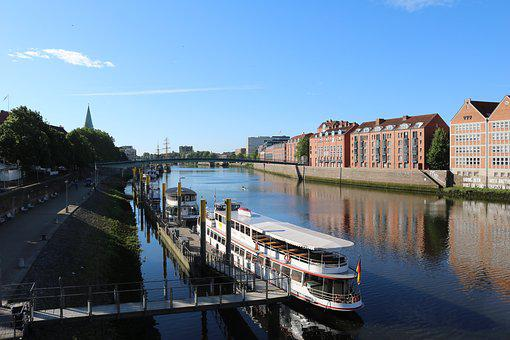 Bremen, Weser, Kill, Water, River, Ships, Teerhof, City