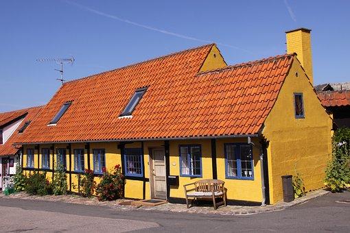 Village, Street, Yellow, House, Bench, Corner, Chimney