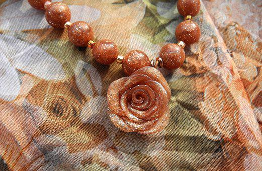 Jewelry, Pendant, Necklace, Rose, Beads, Pearl, Fashion