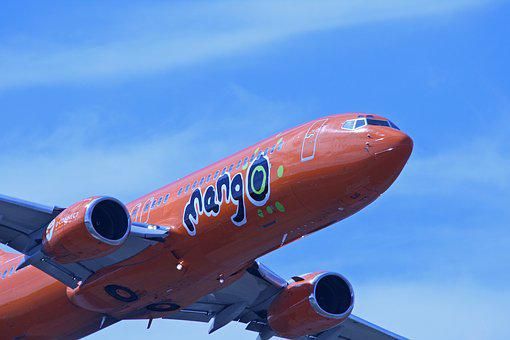 Jet, 737, Boeing, Orange, Display, Flying, Low
