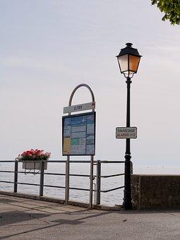 Jetty, Lutry, Information, Lantern, Vaud, Switzerland