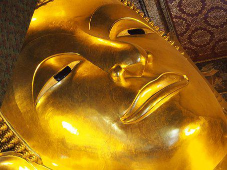 Buddha, Gold, Lying, Reclining Buddha, Thailand