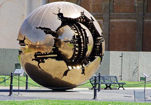 Italy, Rome, Vatican, Sculpture, Ball, Modern Art
