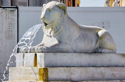 Rome, Fountain, Statue, Lion, Marble, Sculpture, Art