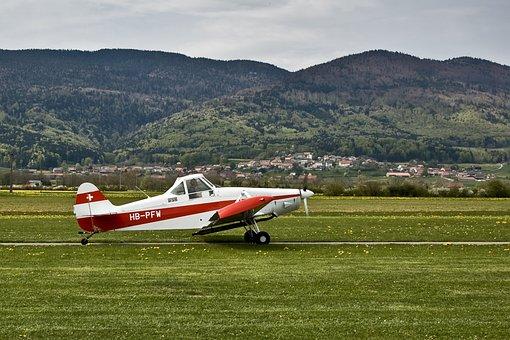 Aircraft, Broye, Vaud, Switzerland, Mountains, Sky