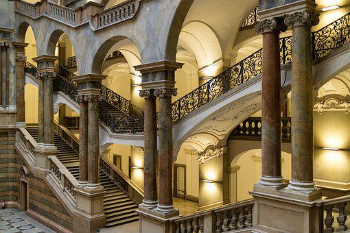 Palace Of Justice, Munich, Bavaria, Stairs, Emergence