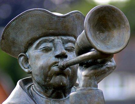 Trumpeter, Statue, Sculpture, Trumpet, Wind Instrument