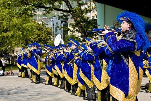 Music, Montreux, Switzerland, Blue, Brass Band, Mood