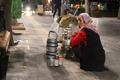 Tea, Samovar, Street, Labor, Sadness
