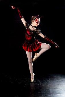 Ballet, Devil, Dance, Black Background, Costume, Girl