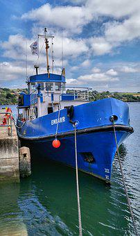Fishing, Trawler, Boat, Sea, Harbour, Blue, Kinsale