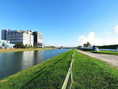 River, Land, Building, Sky, Blue Sky, Blue, Clear Sky