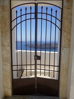 Santorini, Grating, Door, Ocean, Iron, Old, House