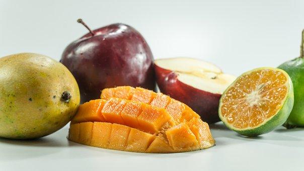 Mango, Apple, Oranges, Slice, On Hand, Yellow, Isolated