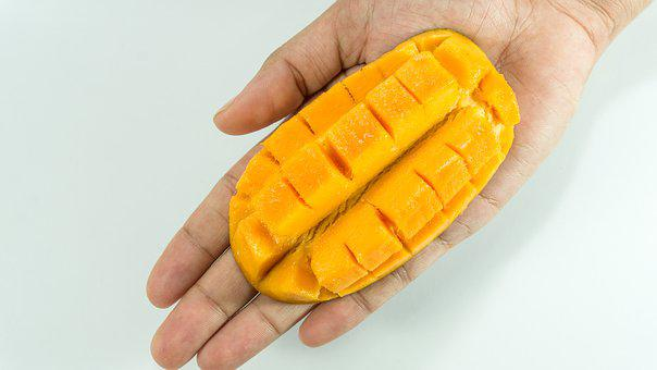 Mango, Slice, On Hand, Yellow, Isolated, Cube, Fruit