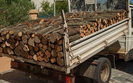 Wood, Logs, Truck, Dumpster, Fireplace, Slaughter