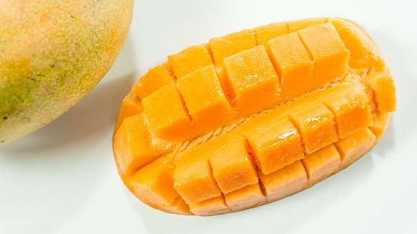 Mango, Slice, White, Yellow, Isolated, Cut, Fruit